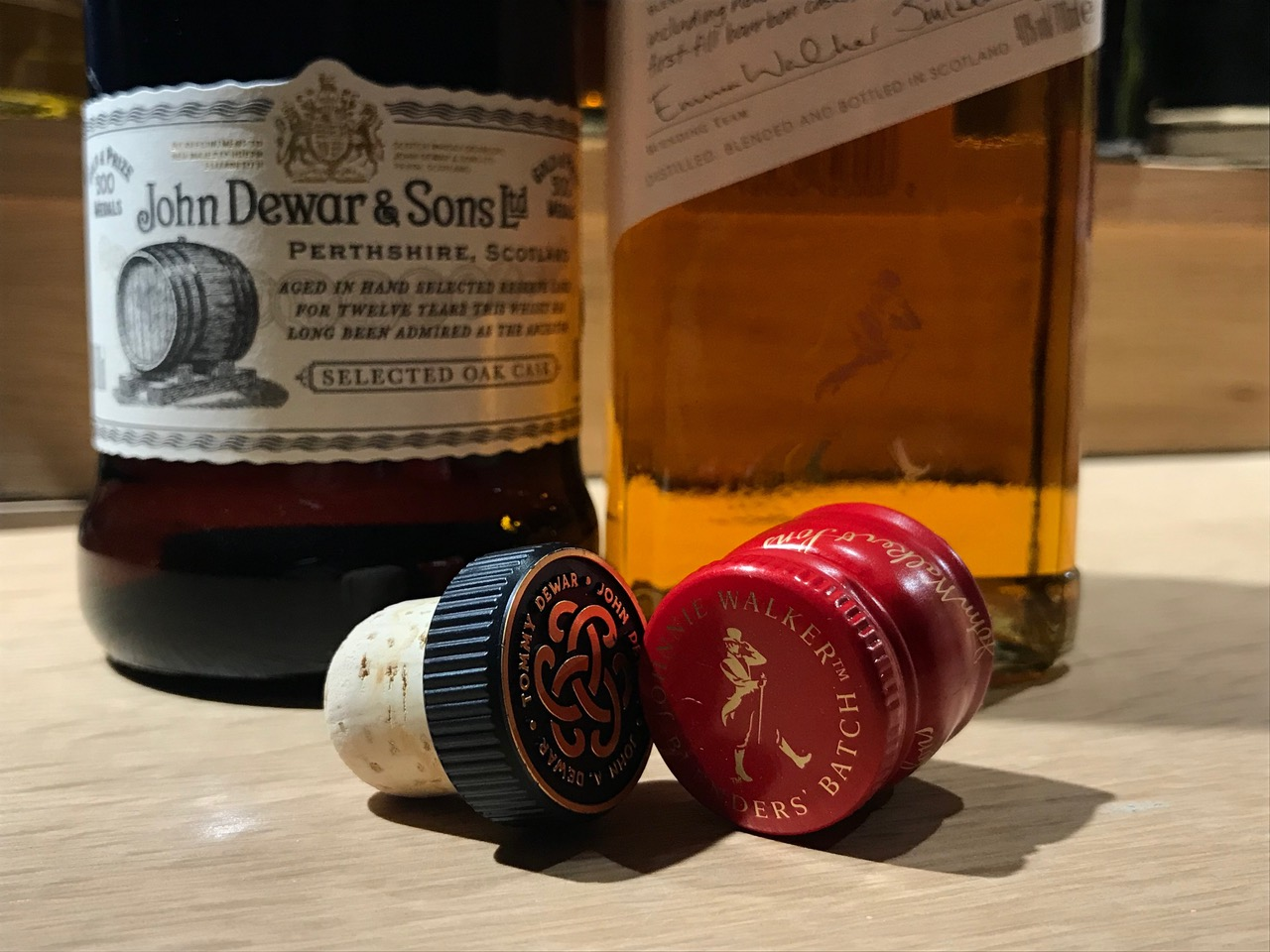 closures on whisky bottles