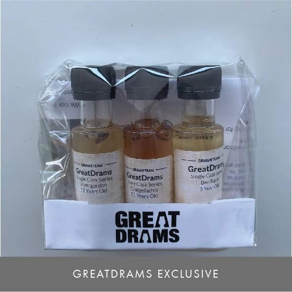 Three pack of limited edition GreatDrams Scotch whiskies